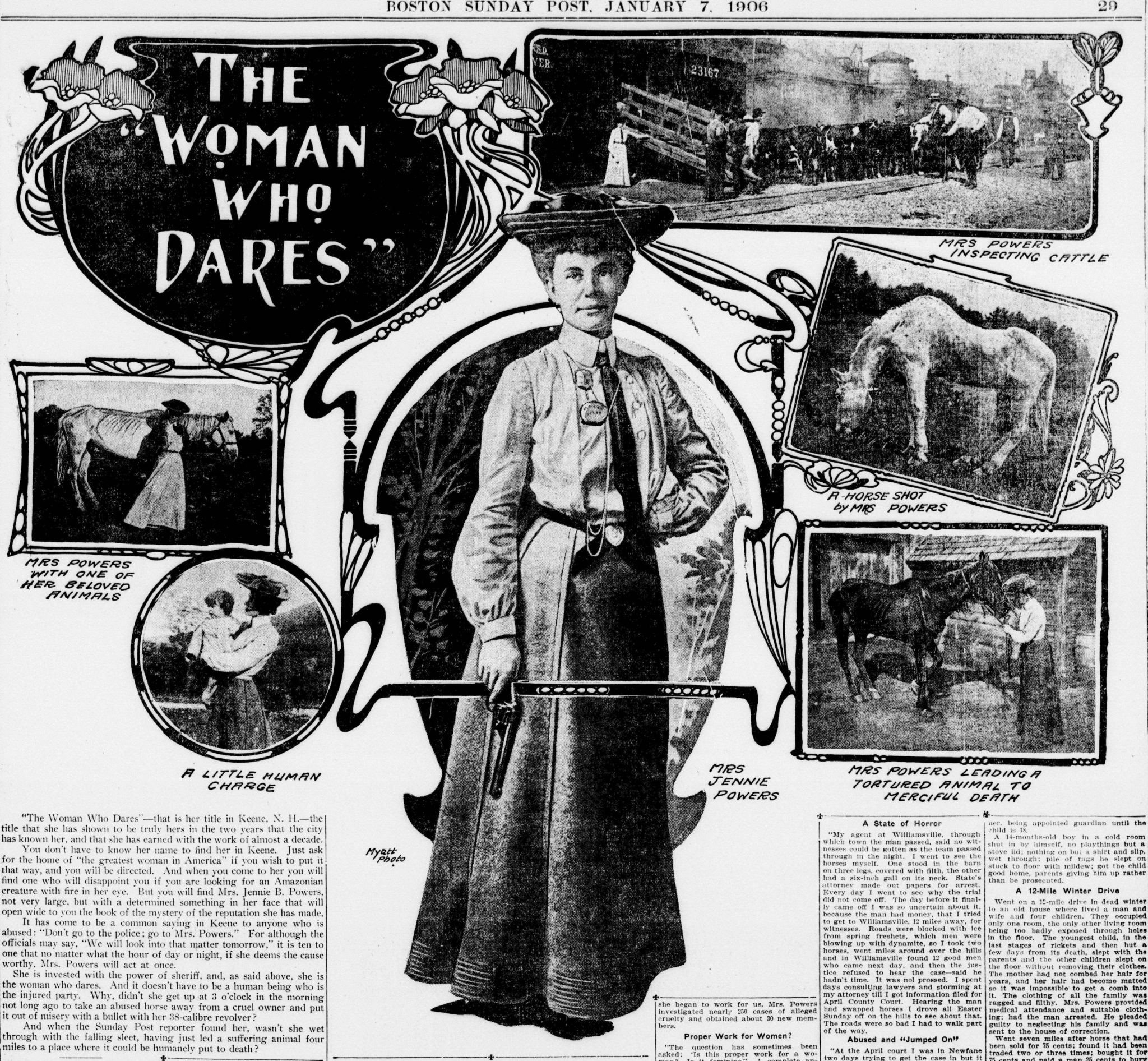 Jennie Powers black and white print advertisement.